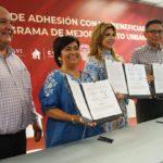 Firman convenio de Conavi para mejoramiento de viviendas en SLRC
